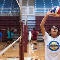 081915      Cayla Nimmo<br /> <br /> Ganado Hornet Mariah Cook sets the ball during practice at Ganado High School Wednesday.