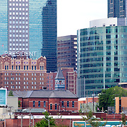 View of Downtown Kansas City Skyline with H&R Block Headquarters on Hotel President.