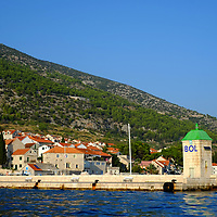Bol Harbour Tower and wall;<br />Bol, Brac, Croatia.
