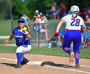 Freebureg first baseman Nicole Edmiaston (left) catches the throw on Nashville batter Jill Kuhl for an out. Freeburg defeated Nashville in the Class 2A sectional softball title game at Nashville High School in Nashville, IL on Thursday June 10, 2021. Tim Vizer/Special to STLhighschoolsports.com.