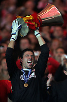 Photo: Paul Thomas.<br /> Espanyol v Sevilla. UEFA Cup Final. 16/05/2007.<br /> <br /> Hero, keeper Andres Palop of Sevilla holds the trophy.