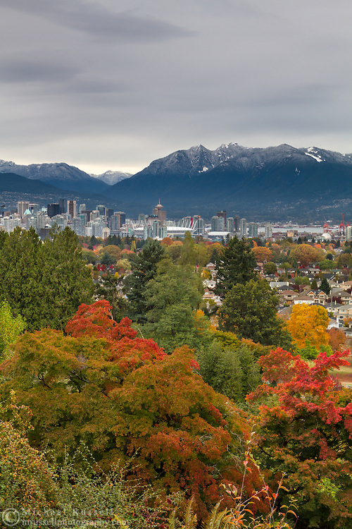 View of the Grouse Mountain and the Coast Range and Downtown Vancouver from Queen Elizabeth Park in Vancouver, British Columbia, Canada