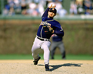 CHICAGO - 1992:  Trevor Hoffman of the San Diego Padres pitches during an MLB game versus the Chicago Cubs at Wrigley Field in Chicago, Illinois during the 1992 season. (Photo by Ron Vesely)   Subject: Trevor Hoffman