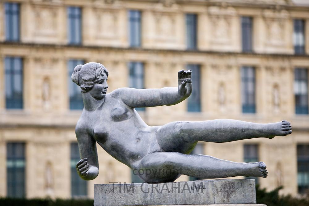 Female sculpture by A. Maillol in Jardin des Tuileries, Paris, France