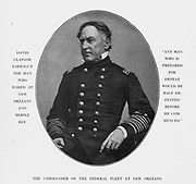 """David Glasgow Farragut (July 5, 1801 – August 14, 1870) was a flag officer of the United States Navy during the American Civil War. He was the first rear admiral, vice admiral, and admiral in the United States Navy. He is remembered for his order at the Battle of Mobile Bay usually paraphrased as """"Damn the torpedoes, full speed ahead"""" in U.S. Navy tradition. from the book ' The Civil war through the camera ' hundreds of vivid photographs actually taken in Civil war times, sixteen reproductions in color of famous war paintings. The new text history by Henry W. Elson. A. complete illustrated history of the Civil war"""
