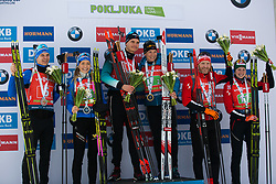 Rene Zahkna (EST), Regina Oja (EST), Emilien Jacquelin (FRA), Anais Bescond (FRA), Simon Eder (AUT), Lisa Theresa Hauser (AUT) during award ceremony after the Single Mixed Relay 6 km / 7,5 kmn at day 3 of IBU Biathlon World Cup 2019/20 Pokljuka, on January 23, 2020 in Rudno polje, Pokljuka, Pokljuka, Slovenia. Photo by Peter Podobnik / Sportida