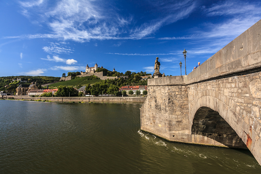 Fortress Marienberg with Old Main Bridge in Würzburg, Germany. The mighty Fortress Marienberg is the symbol of Würzburg. The prince-bishops of Würzburg lived in this fortress nearly five centuries.