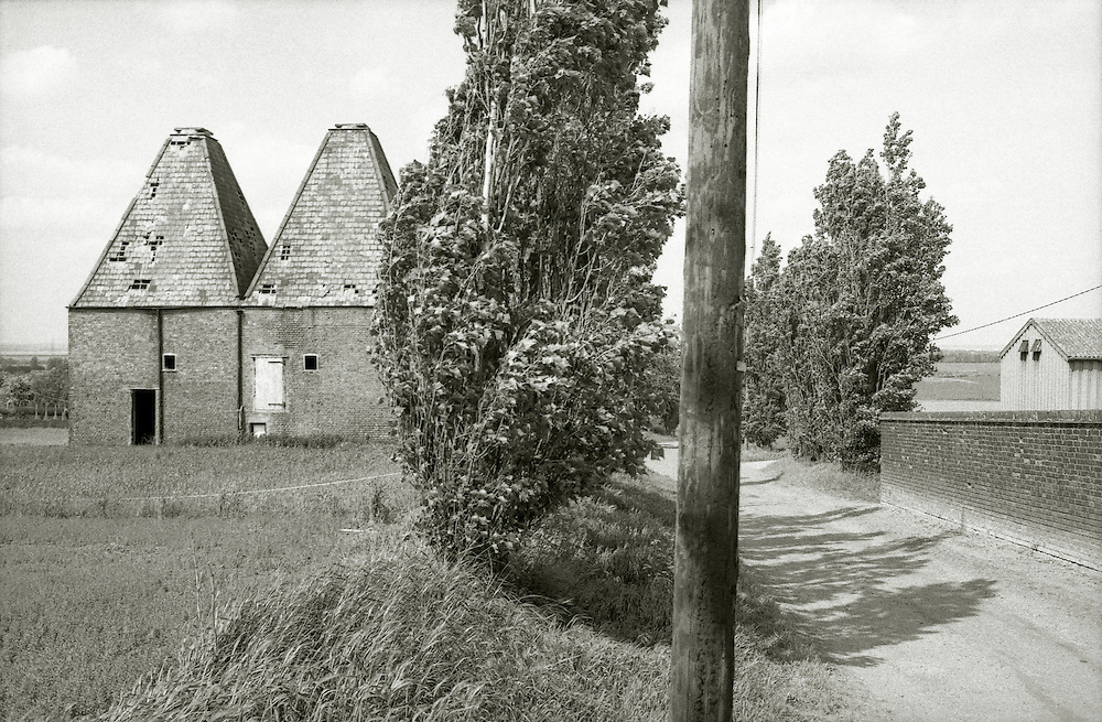 Derelict oasthouses in North Kent. England 1996.