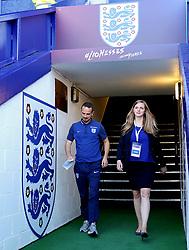 England head coach Mark Sampson walks out on to the pitch as the teams arrive at Prenton Park - Mandatory by-line: Matt McNulty/JMP - 19/09/2017 - FOOTBALL - Prenton Park - Birkenhead, United Kingdom - England v Russia - FIFA Women's World Cup Qualifier