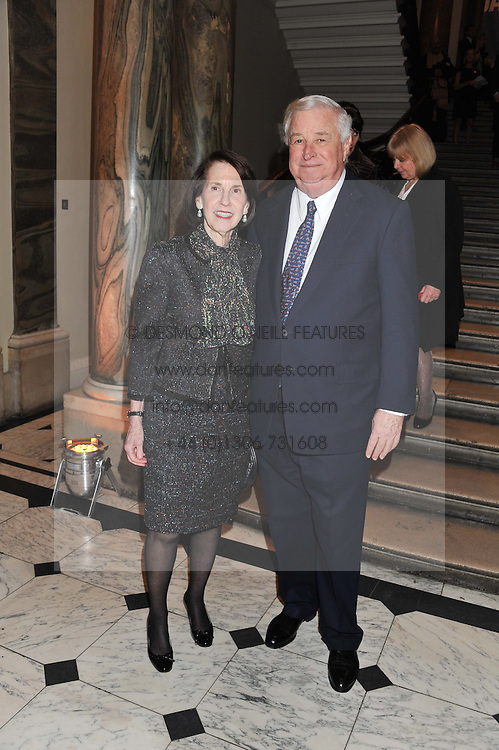 The U.S. Ambassador LOUIS B SUSMAN and his wife MARJORIE at a private view to celebrate the opening of the Royal Academy's exhibition of work by David Hockney held at The Royal Academy, Burlington House, Piccadilly, London on 17th January 2012.