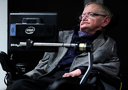 Stephen Hawking during the launch of the Leverhulme Centre for the Future of Intelligence (CFI) in Cambridge.