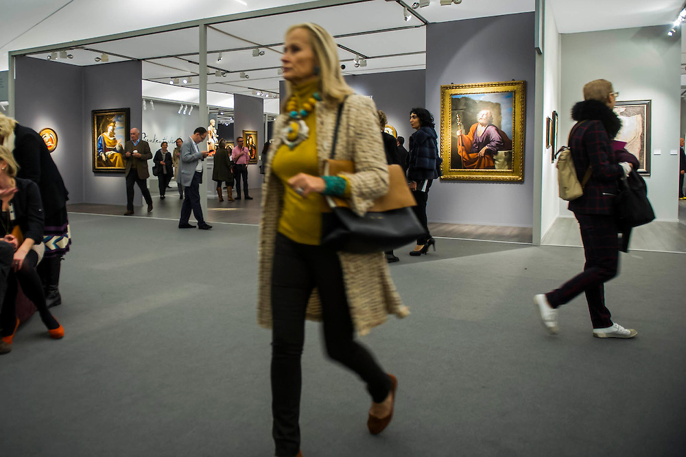 Frieze Masters 2014 - including a huge range of works from religious relics, through old masters to contemporary art with prices upto millions of pounds. Regents Park, London, 14 Oct 2014.