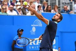 June 24, 2017 - London, England, United Kingdom - Marin Cilic of Croatia servers during the mens singles semi-final match against Gilles Muller of Luxembourg on day six of the 2017 Aegon Championships at Queens Club on June 24, 2017 in London, England. (Credit Image: © Alberto Pezzali/NurPhoto via ZUMA Press)