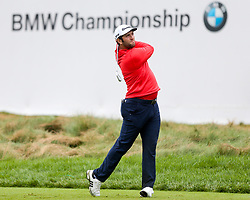 September 10, 2018 - Newtown Square, Pennsylvania, United States - Jon Rahm tees off the 17th hole during the final round of the 2018 BMW Championship. (Credit Image: © Debby Wong/ZUMA Wire)