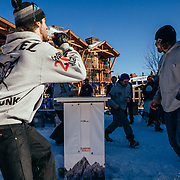Team Hostel X warms up on the official Gelande Quaff tables prior to the official start of the competition. Justus Stearns catching and drinking.