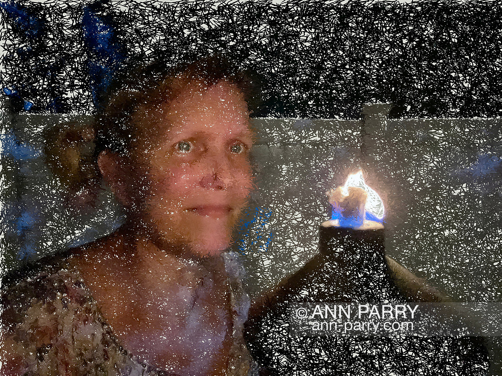 Ann Parry Selfie by oil lamp