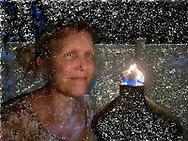 Ann Parry Selfie by oil lamp