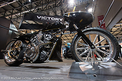 """Indian Motorcycles custom salt flats racer """"Black Bullet Scout"""" by Jeb Scolman at EICMA, the largest international motorcycle exhibition in the world. Milan, Italy. November 19, 2015.  Photography ©2015 Michael Lichter."""