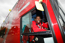 Jay Emmanuel-Thomas takes the drivers seat on the bus after the Bristol City open top bus parade to celebrate winning both the League 1 and Johnstone's Paint Trophy titles this season and promotion to the Championship - Photo mandatory by-line: Rogan Thomson/JMP - 07966 386802 - 04/05/2015 - SPORT - FOOTBALL - Bristol, England - Bristol City Bus Parade.