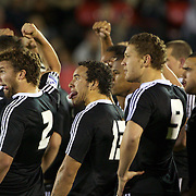 Liam Coltman (2) Star Timu, (13) and Tawera Kerr-Barlow (9) perform the Haka with team mates before the Australia V New Zealand Final match at the IRB Junior World Championships in Argentina. New Zealand won the match 62-17 at Estadio El Coloso del Parque, Rosario, Argentina. 21st June 2010. Photo Tim Clayton....