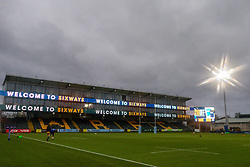 An illuminated Welcome to Sixways sign as the players emerge for a pre-match warm up - Mandatory by-line: Nick Browning/JMP - 14/11/2020 - RUGBY - Sixways Stadium - Worcester, England - Worcester Warriors Women v Loughborough Lightning - Allianz Premier 15s