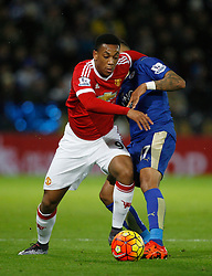 Anthony Martial of Manchester United (L) and Danny Simpson of Leicester City in action  - Mandatory byline: Jack Phillips/JMP - 07966386802 - 28/11/2015 - SPORT - FOOTBALL - Leicester - King Power Stadium - Leicester City v Manchester United - Barclays Premier League