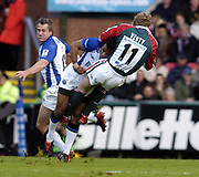 Leicester, England UK., 9th October 2004,  Zurich Premiership Rugby, Leicester Tigers vs Bath Rugby, Welford Road,<br /> [Mandatory Credit: Peter Spurrier/Intersport Images],<br /> Sam Vesty run's into the John Higgns tackle.