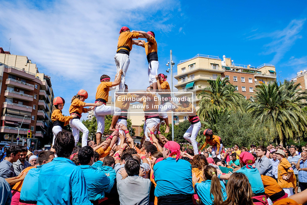 Castellers building human towers at the Sagrada Família, Barcelona, Catalonia, Spain<br /> <br /> (c) Andrew Wilson | Edinburgh Elite media