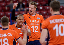 Nimir Abdelaziz #1, Kay van Dijk #12 during volleyball match between National teams of Netherlands and Slovenia in Playoff of 2015 CEV Volleyball European Championship - Men, on October 13, 2015 in Arena Armeec, Sofia, Bulgaria. Photo by Ronald Hoogendoorn / Sportida
