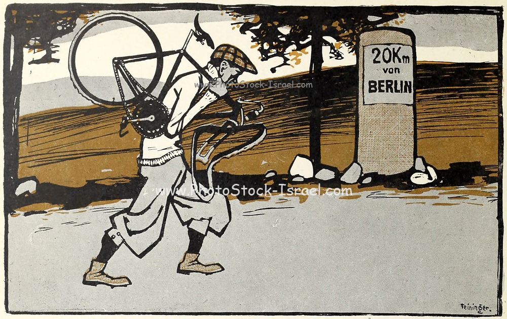 Returning home with a damaged bike From the Book Das Narrenrad : Album fröhlicher Radfahrbilder [The fool's wheel: album of happy cycling pictures] by Feininger, Lyonel, 1871-1956, illustrator; Heilemann, Ernst, 1870- illustrator; Hansen, Knut, illustrator; Fürst, Edmund, 1874-1955, illustrator; Edel, Edmund, illustrator; Schnebel, Carl, illustrator; Verlag Otto Elsner, printer. Published in Germany in 1898