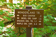 Trail sign on the Wonderland Trail, Mount Rainier National Park, Washington