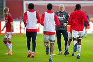 Middlesbrough assistant coach Leo Percovich watching the Middlesbrough players warming-up before the EFL Sky Bet Championship match between Brentford and Middlesbrough at Brentford Community Stadium, Brentford, England on 7 November 2020.