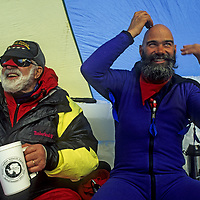 ANTARCTICA, Mount Vaughan Expedition. Norman Vaughan (88) and his guide Vern Tejas in base camp tent. (MR)