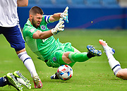 May 16, 2021 - Kansas City, KS, United States:   Vancouver Whitecaps goalkeeper Maxime Crepeau (16) tries to block a Sporting KC shot on goal which he blocked with his body.  Sporting KC beat the Vancouver Whitecaps FC 3-0 in a Major League Soccer game. <br /> Photo by Tim Vizer/Polaris