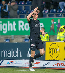 Falkirk's Aaron Muirhead cele scoring their second goal from the second penalty. Falkirk 3 v 1 Inverness Caledonian Thistle, Scottish Championship game played 27/1/2018 at The Falkirk Stadium.