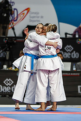 November 11, 2018 - Madrid, Madrid, Spain - Turkey Team win the bronce medal and the third place of Female Kata Team during the Finals of Karate World Championship celebrates in Wizink Center, Madrid, Spain, on November 11th, 2018. (Credit Image: © AFP7 via ZUMA Wire)