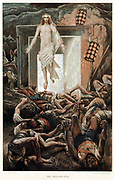 The Resurrection 'His countenance was like lightning and his raiment white as snow: And for fear of him the keepers did shake, and became as dead men'. Matthew 28-29. From JJ Tissot 'The Life of our Saviour Jesus Christ' c1890. Oleograph