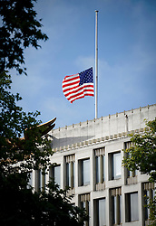© licensed to London News Pictures. London, UK.  11/09/2011.  The  American flag flying at half mast above the U.S.Embassy today (11/09/2011).  A service is being held at the 9/11 memorial outside the U.S Embassy in London today (11/09/2011) to mark the 10th anniversary of the attack ono the Twin Towers in New York, in which over 2800 people died. Photo credit: Ben Cawthra/LNP