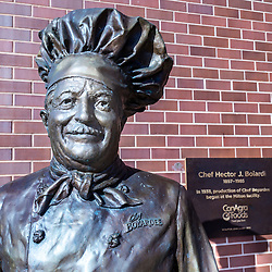 "Milton, PA - July 26, 2016: A close up of the Chef Boyardee statue at the ConAgra Foods factory. Italian immigrant Ettore ""Hector"" Boiardi founded the company in Cleveland, Ohio, U.S.A.,in 1928."