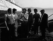 Dingle Regatta.22/08/1976.08/22/1976.22nd August 1976.Picture shows Mr.Leo Brosnan (2nd left) Organiser and Secretary of the Dingle Regatta Committee presenting the cup for the County Kerry County Championship Curragh Race to Mr. Michael Kelleher, Captain of the Maharees team, also included are from left Noel Cunnaen, Des Kelleher, Tony Kelleher and Joe Foley, Regatta Judge.