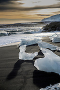 Small icebergs standed on the beach, Jokurlarlon, Iceland