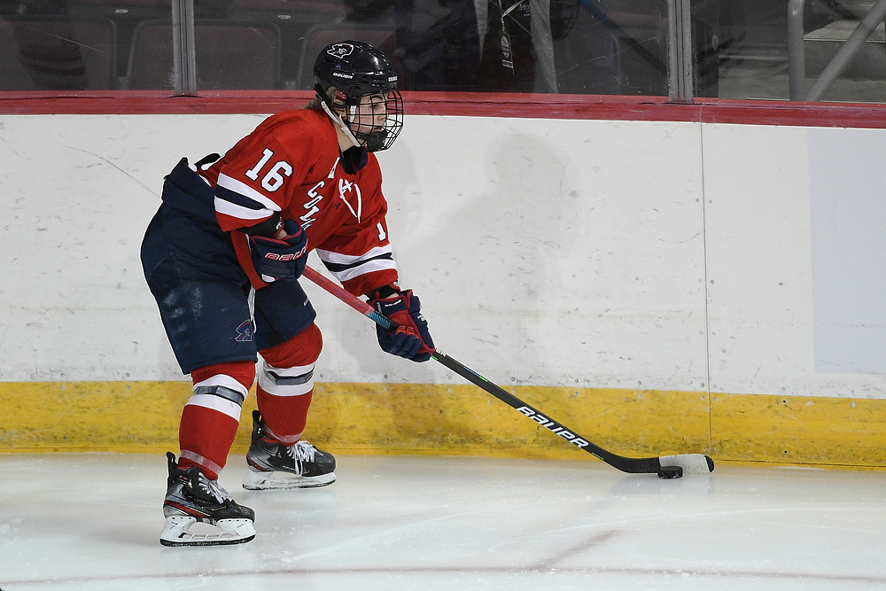 ERIE, PA - MARCH 05: Michaela Boyle #16 of the Robert Morris Colonials skates with the puck in the third period during the game against the Mercyhurst Lakers at the Erie Insurance Arena on March 5, 2021 in Erie, Pennsylvania. (Photo by Justin Berl/Robert Morris Athletics)