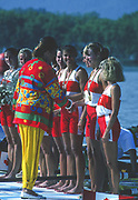 Banyoles, SPAIN, IOC Vice President, Anita DEFRANZ, presents the Canadian Women's Eight with their Gold Medals crew; Kirsten BARNES , Shannon CRAWFORD , Megan DELEHANTY , Kathleen HEDDLE , Marnie McBEAN , Jessica Jessie MONROE , Brenda TAYLOR , Kay WORTHINGTON , Lesley THOMPSON - WILLIE (c) awards dock and  competing in the 1992 Olympic Regatta, Lake Banyoles, Barcelona, SPAIN.   [Mandatory Credit: Peter Spurrier: Intersport Images]