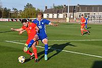 Football - 2023 UEFA U21 Championship - Qualifying - Group E - Wales vs Moldova - Steboneath Park, Llanelli<br /> <br /> Cojocari Moldova collides with Jo Adams Wales view of ground <br /> <br /> COLORSPORT/WINSTON BYNORTH