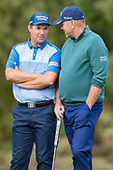 Padraig Harrington of Ireland (left) talks to Thomas Bjorn of Denmark during the British Masters 2018 at Walton Heath Golf Course, Walton On the Hill, Surrey on 12 October 2018. Picture by Martin Cole.