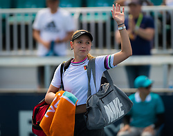 March 23, 2019 - Miami, FLORIDA, USA - Donna Vekic of Croatia & Petra Kvitova of the Czech Republic walks off the court after her third-round match at the 2019 Miami Open WTA Premier Mandatory tennis tournament (Credit Image: © AFP7 via ZUMA Wire)