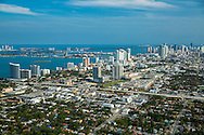 Aerial view of Miami's Edgewater neighborhood, Omni area, Mid-town, the Miami Design District and downtown in the afternoon