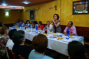 Women gathered to support the pre-election campaign of Albania's democratic candidate for member of parliament of the democratic party Jozefina Topalli on Monday, June 22, 2009. (Photo by Vudi Xhymshiti)