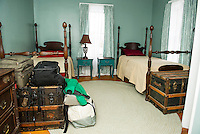 The Launch at Riverbank offers nine beds within the house as a first step towards drug and alcohol recovery.  A resident's bags are packed to move on to the next transition house within the program.  (Karen Bobotas/for the Laconia Daily Sun)