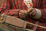 Fisherman preparing his nets, Changshan Island, Poyang Ho Lake, Jiangxi province, China